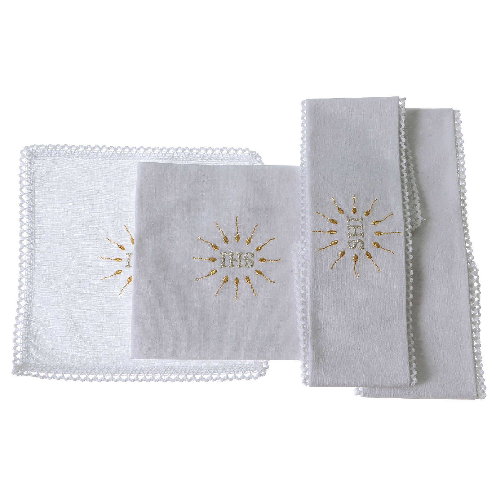 Church Altar Cloth Set with IHS in pure cotton 4