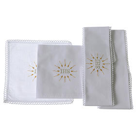 Church Altar Cloth Set with IHS in pure cotton s2