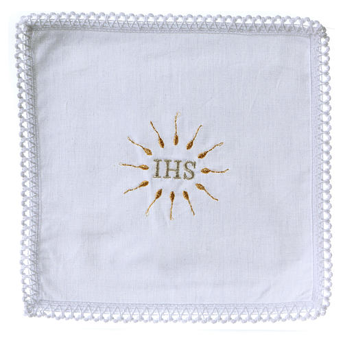 Church Altar Cloth Set with IHS in pure cotton 1