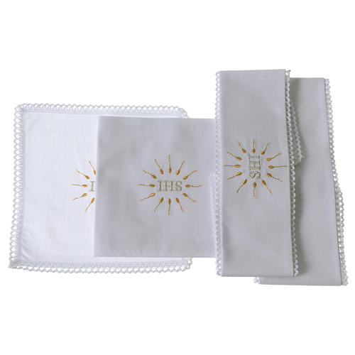 Church Altar Cloth Set with IHS in pure cotton 2