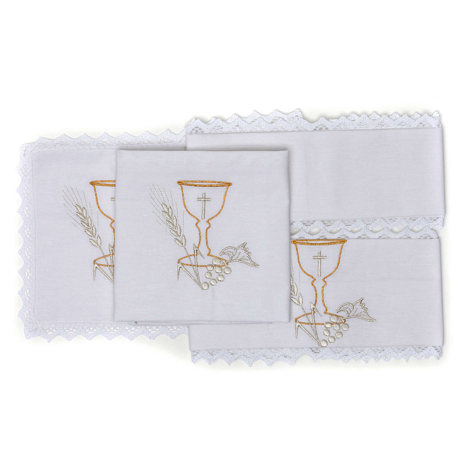 Altar Cloth Set with Chalice symbol in pure cotton 4