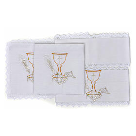 Altar Cloth Set with Chalice symbol in pure cotton s2
