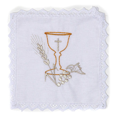 Altar Cloth Set with Chalice symbol in pure cotton 1