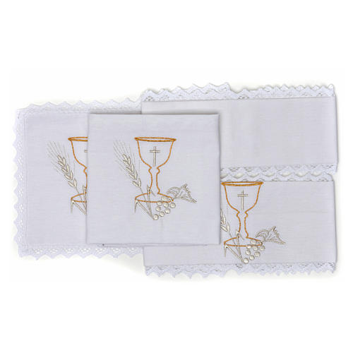 Altar Cloth Set with Chalice symbol in pure cotton 2
