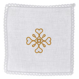 Liturgical set with cross symbol in pure linen s1