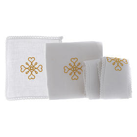 Liturgical set with cross symbol in pure linen s2