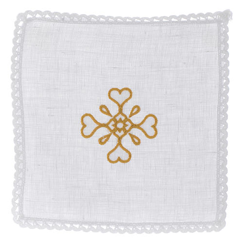 Liturgical set with cross symbol in pure linen 1