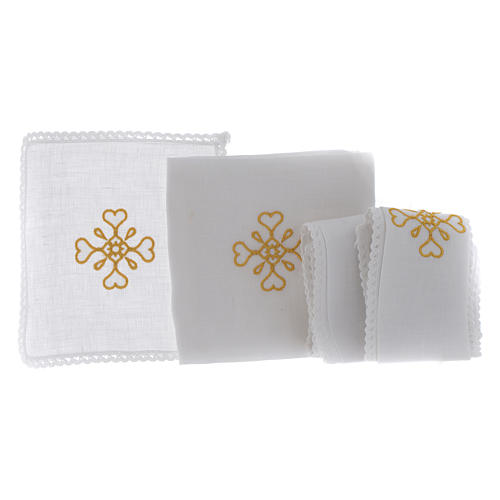 Liturgical set with cross symbol in pure linen 2