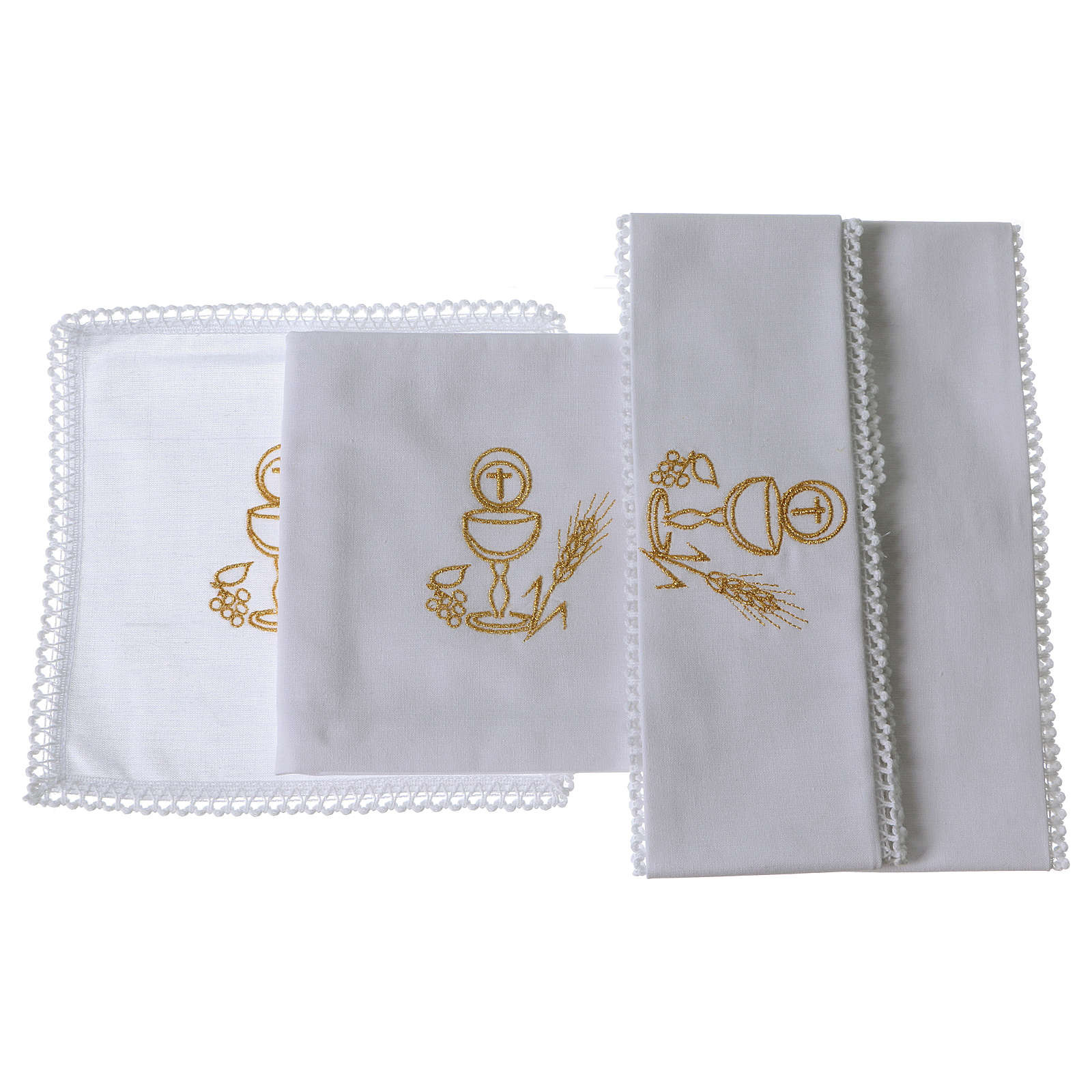 Chalice and host altar cloth set in pure cotton 4