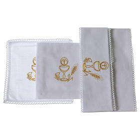 Chalice and host altar cloth set in pure cotton s2