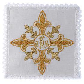 Conjuntos de Altar: Conjunto alfaia 100% linho cruz IHS