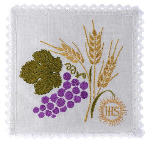 Servizio da altare 100% lino uva spighe 1