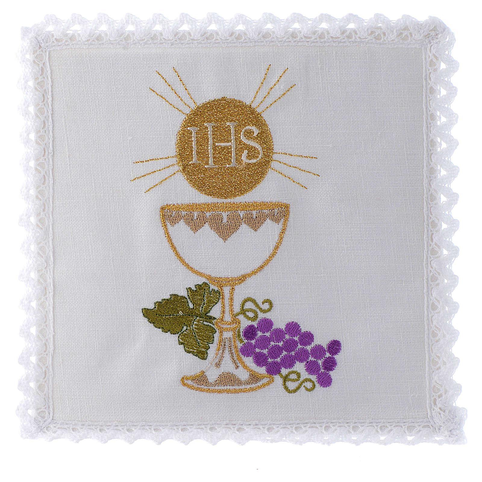 Servizio da altare 100% lino calice ostia uva 4