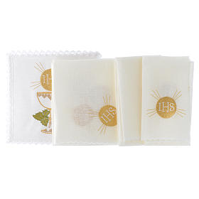 Altar cloth linen set 100% linen bread and wine chalice s2