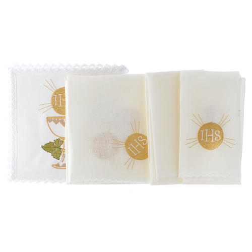 Altar cloth linen set 100% linen bread and wine chalice 2