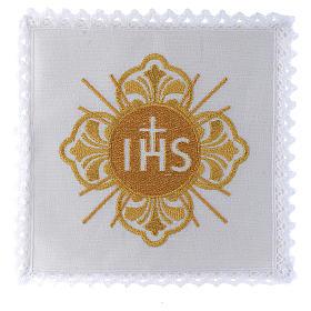 Servizio da altare 100% lino IHS dorato s1
