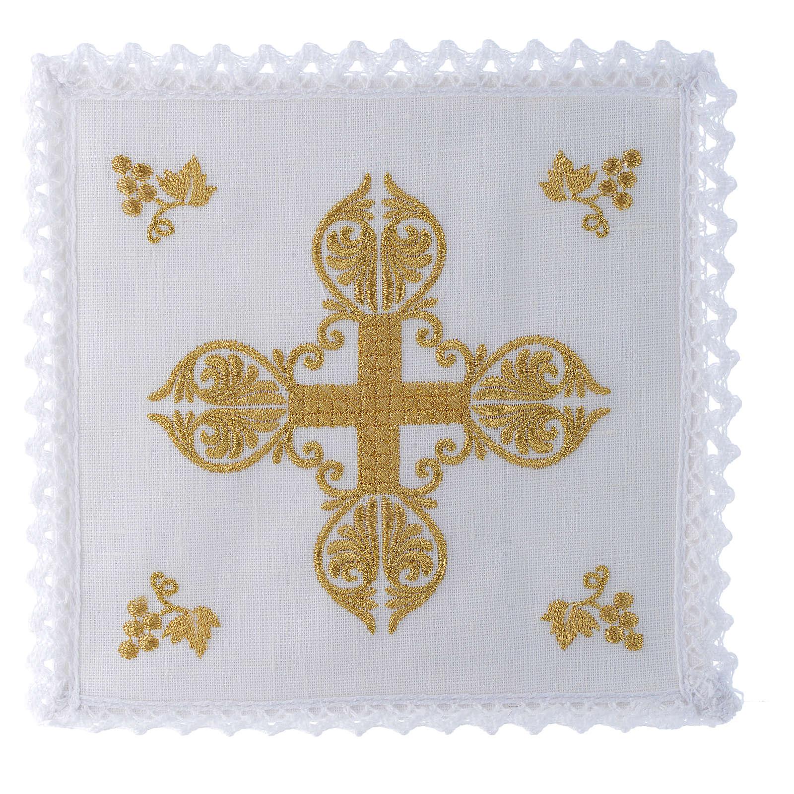 Servizio da altare 100% lino croce dorata 4