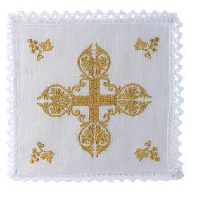 Servizio da altare 100% lino croce dorata s1