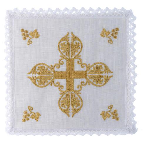 Servizio da altare 100% lino croce dorata 1