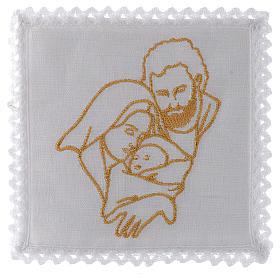 Servizio da messa in lino con la Sacra Famiglia s1