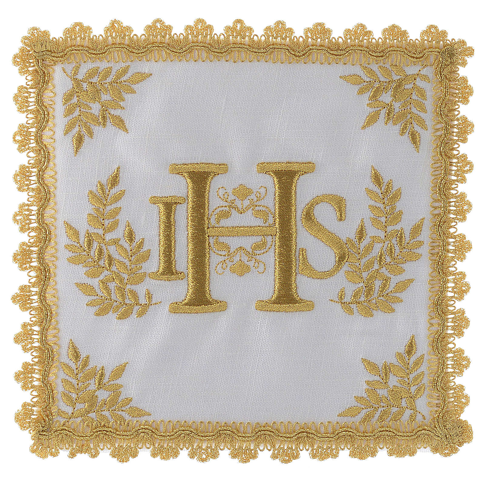 Altar linen set 100% linen golden IHS 4