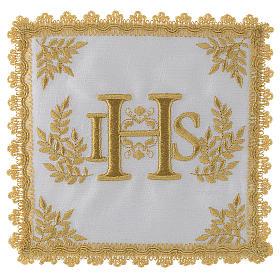 Altar linens: Altar linen set 100% linen golden IHS