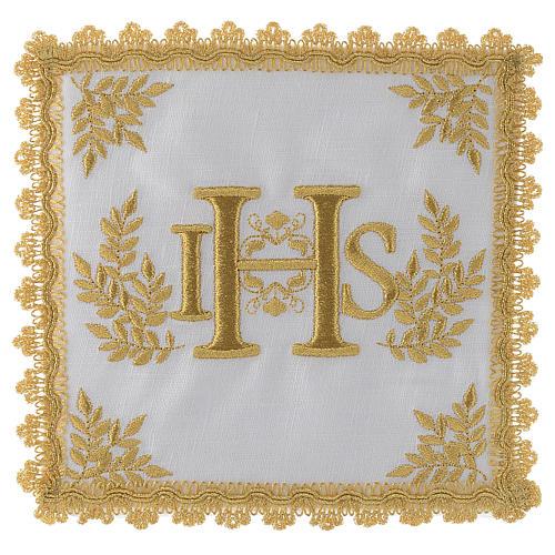 Altar linen set 100% linen golden IHS 1