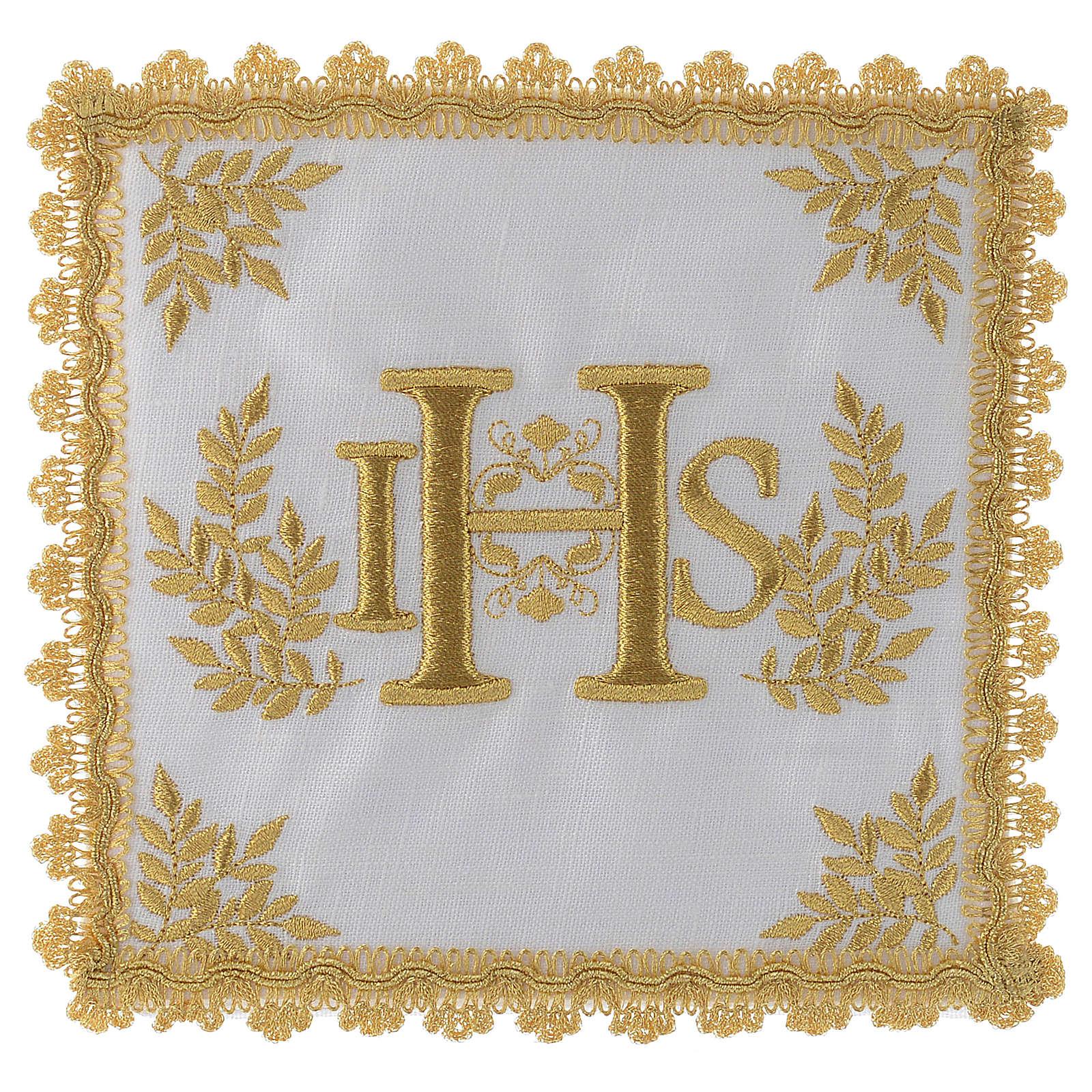 Servizio da messa lino IHS dorato 4