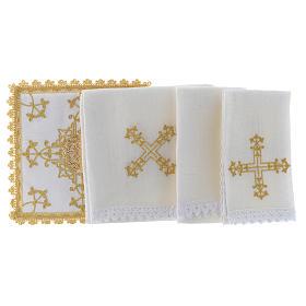 Linge d'autel avec croix en or lin s2