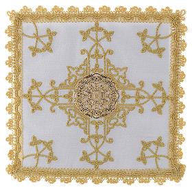 Conjunto de alfaias com cruz dourada em linho s1