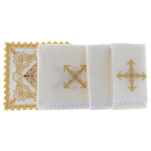 Linge d'autel avec décorations en or lin 2
