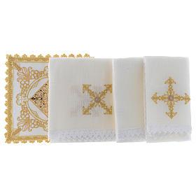Altar linen set with golden designs 100% linen s2