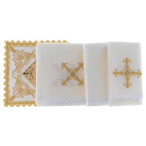 Altar linen set with golden designs 100% linen 2