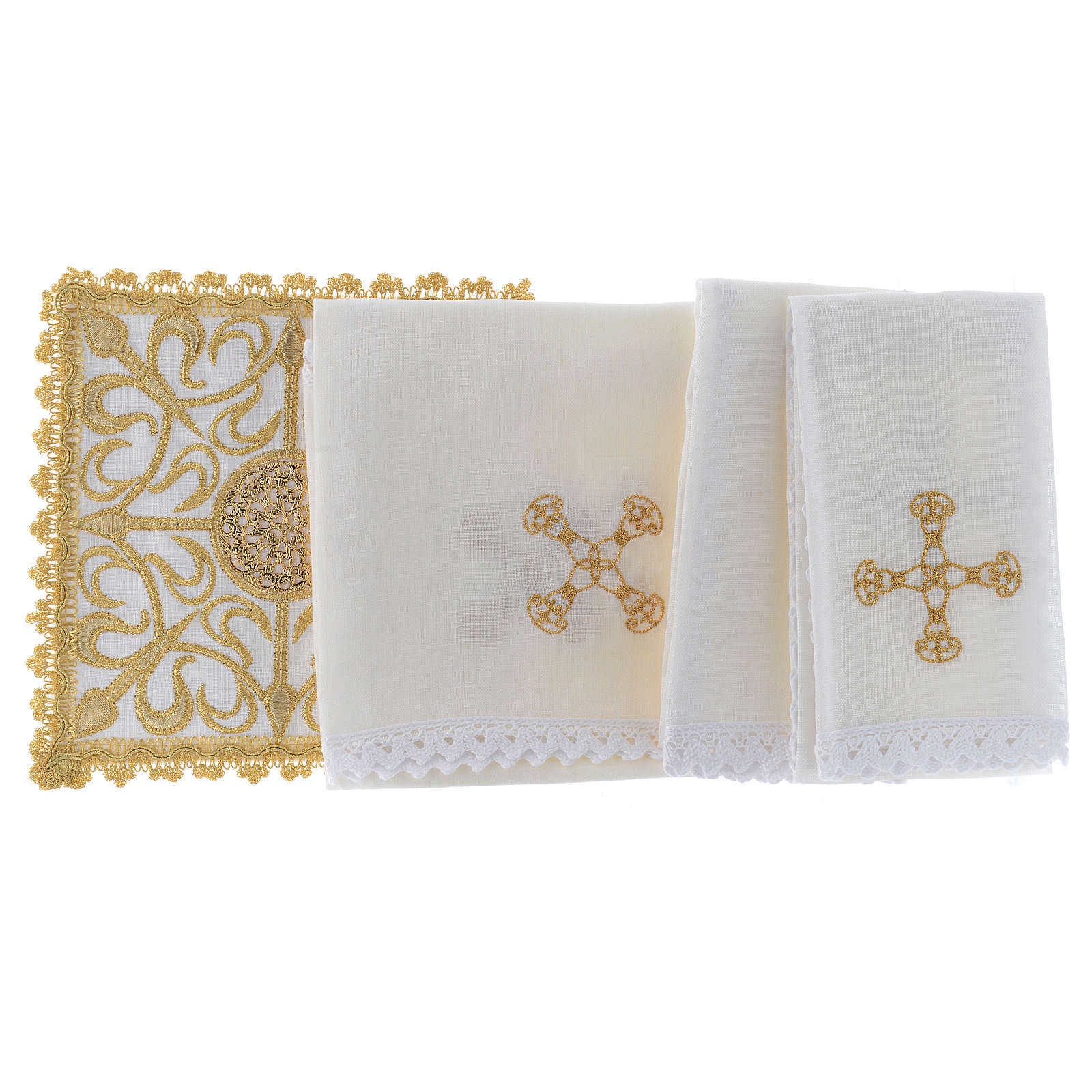 Altar linen set with cross and golden designs 100% linen 4