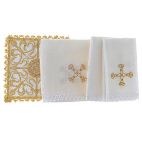 Altar linen set with cross and golden designs 100% linen s2