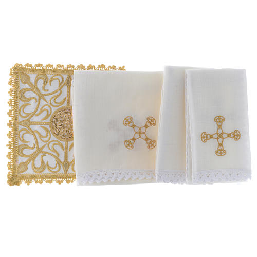 Altar linen set with cross and golden designs 100% linen 2