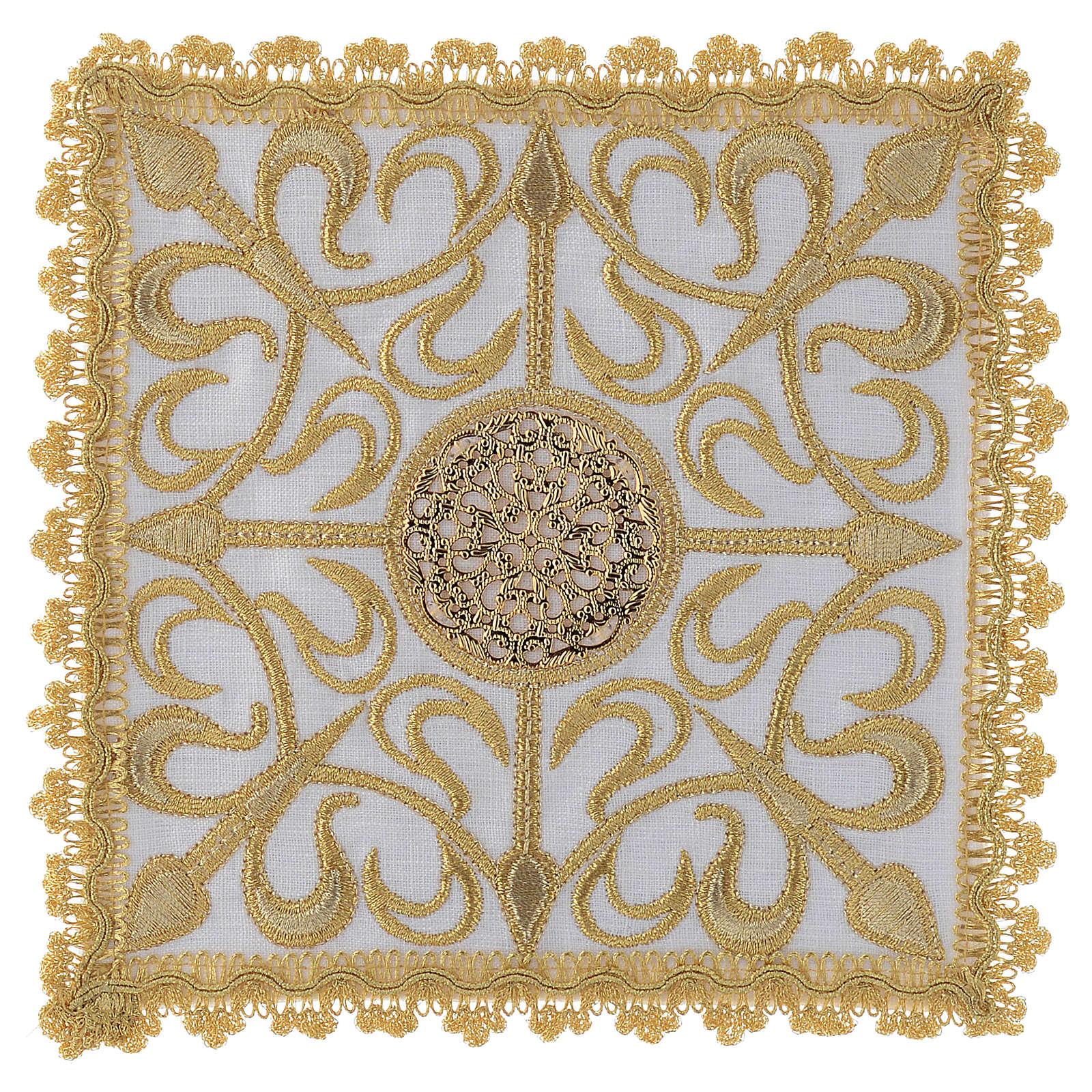 Set linge d'autel complet avec croix et décors en or lin 4