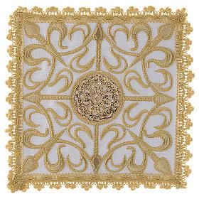 Set linge d'autel complet avec croix et décors en or lin s1