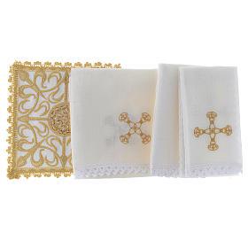 Set linge d'autel complet avec croix et décors en or lin s2