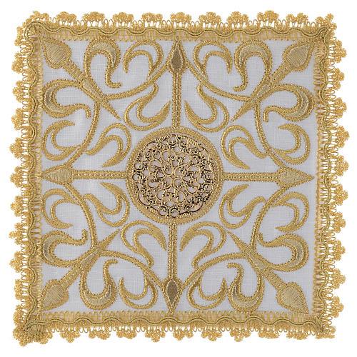 Set linge d'autel complet avec croix et décors en or lin 1