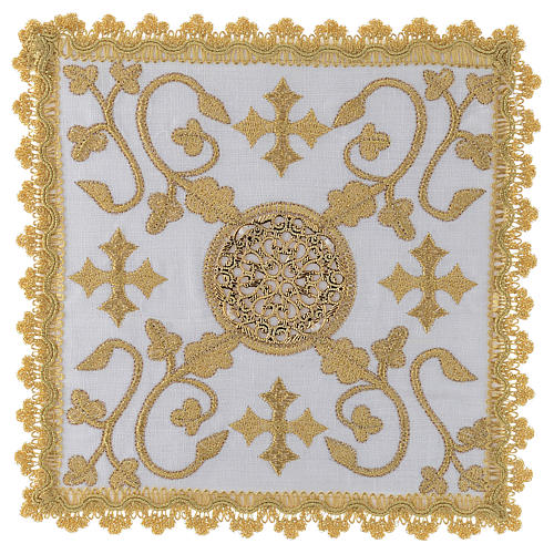 Altar linen set with embroidered golden designs 100% linen 1