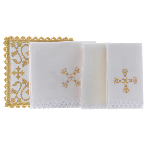 Altar linen set with embroidered golden designs 100% linen 2