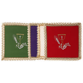 Altar linens: Chalice veil (pall) with chalice decoration and extractable card