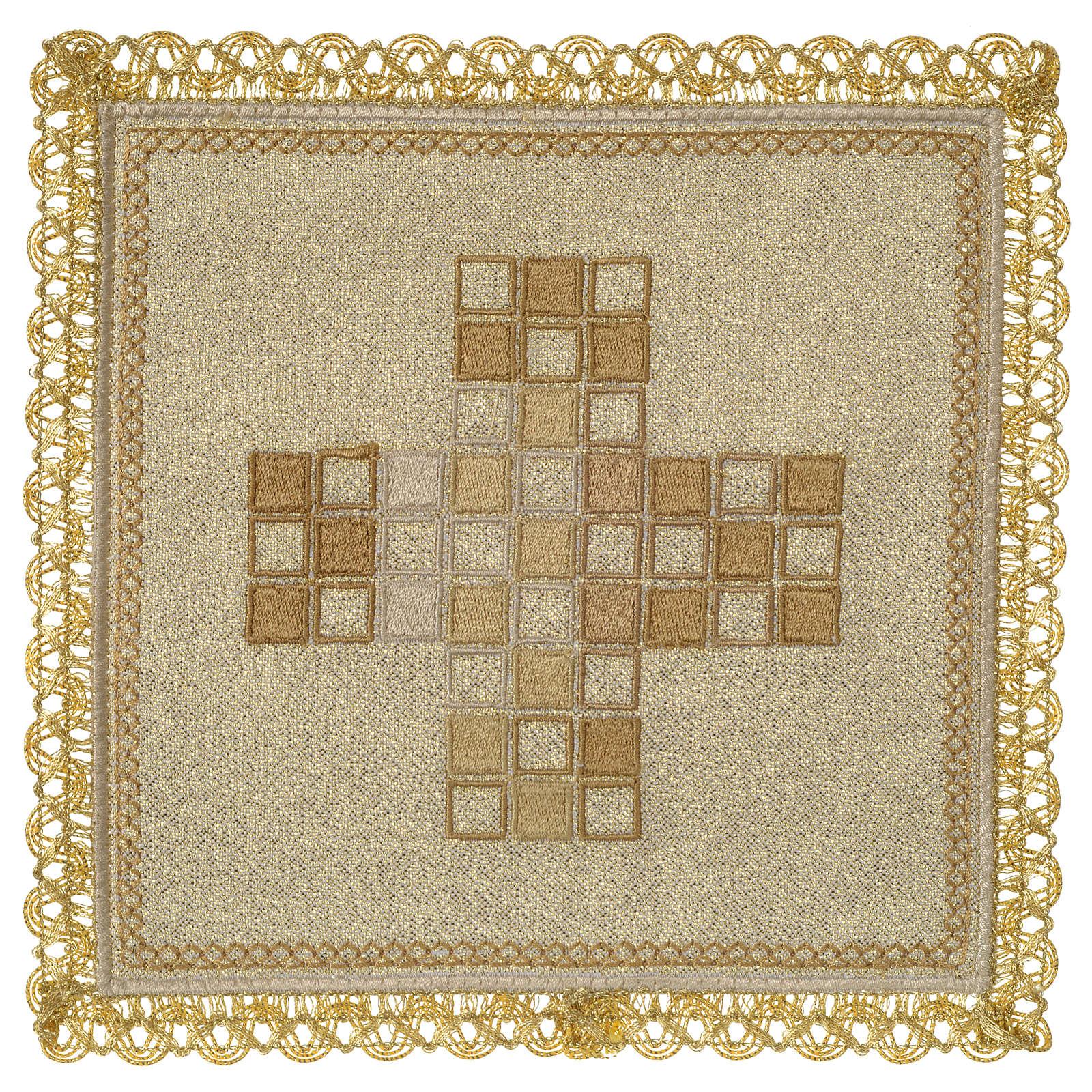 Servizio da altare 100% lino moderno motivo quadri 4