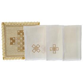 Servizio da altare 100% lino moderno motivo quadri s3