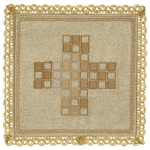 Servizio da altare 100% lino moderno motivo quadri 1