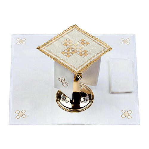 Servizio da altare 100% lino moderno motivo quadri 2