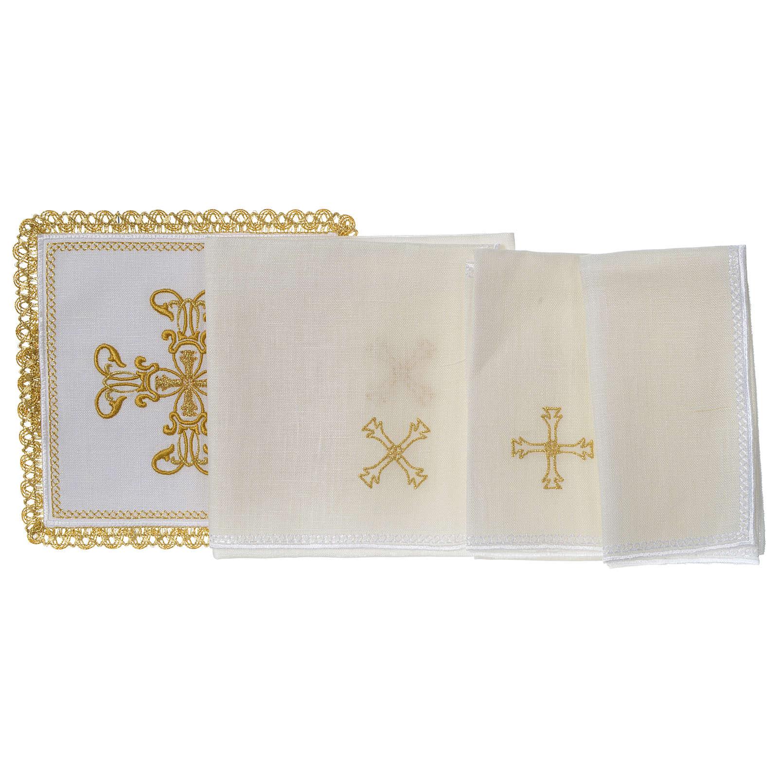 Servizio da altare 100% lino croce oro 4