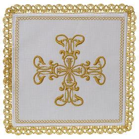 Servizio da altare 100% lino croce oro s1