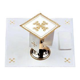 Servizio da altare 100% lino croce oro s2